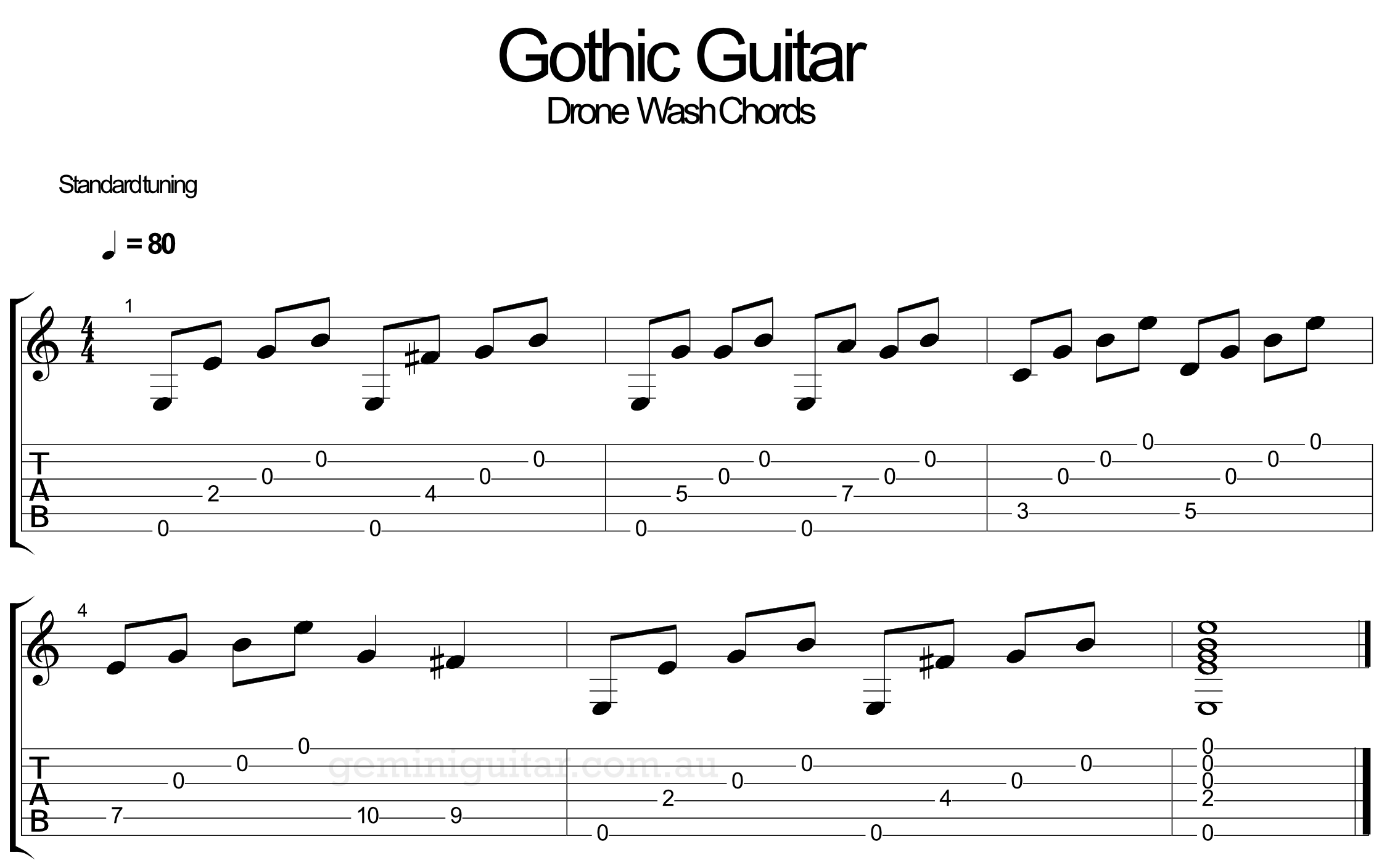How to play easy Gothic guitar chords